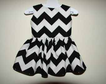 """18"""" Doll Clothes, American Girl Doll Clothes, Chevron Dress, Black and White Chevron Dress, Doll Outfit"""