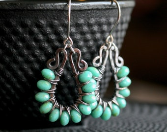 Oxidized copper dangle earrings, aqua green, Czech glass, beaded, dangle, wire wrapped earrings, drop, hoop, Mimi Michele Jewelry