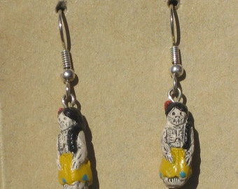 Day of the Dead Earrings, Hand Painted Peru Beads