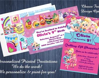 20pcs Custom Personalized Shopkins Birthday Party Invitations w/Envelopes - 4x6 Cards - We Print