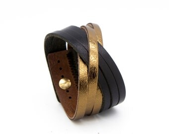 Black and gold cuff, gold leather cuff, gold cuff bracelet  - the Orleans
