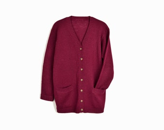 Vintage Burgundy Wool Cardigan Sweater - women's small/medium