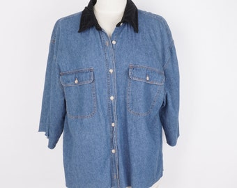 Boxy Denim and Black Velvet Shirt Loose Fit Light Wash Blue Jean Chambray Blouse Top Woman Large XL Forelli Jeanswear