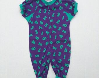 80s vintage baby romper colorful teal and purple onesie Nordstrom NOS 18 months boy girl