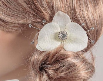 Small Orchid Hair Clip in Cream White/ Light Ivory with Pearls or Rhinestone Crystals - Real Touch Phalaenopsis Orchid brooch pin corsage