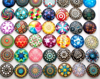 Glass cabochons - set of 10 round cabochons with abstract designs - 25mm flat back cabochons - 1 inch round cabochons