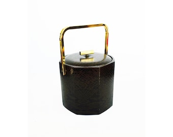 Mid Century Octagon Ice Bucket / Brass and Faux Snake Skin / Georges Briard