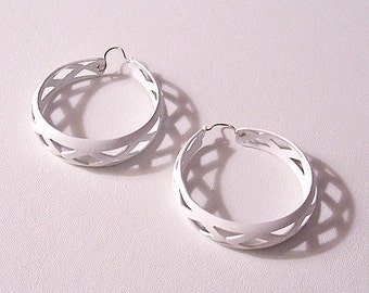 White Diamond Triangle Hoops Pierced Wire Earrings Silver Tone Vintage Extra Large Cutout Wide Band Round Open Graduated Ring Dangles