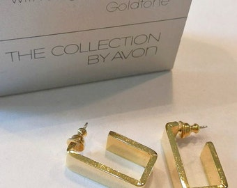 Square Hoops Pierced Post Stud Earings Gold Tone Vintage Avon 1976 Geometric Collection Wide Polished Band Open Dangles