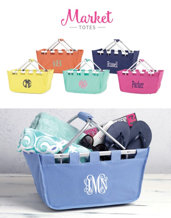 Market Tote Custom Personalized MONOGRAM Available Collapsible Large Solid Colors