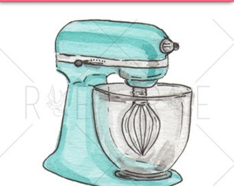 Kitchen Mixer Watercolor Illustration - Digital Download, Clip Art, Baking
