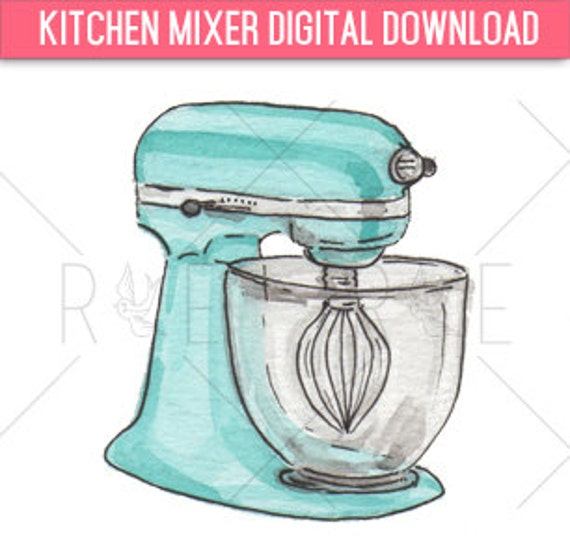Kitchen Art Mixer: Kitchen Mixer Watercolor Illustration Digital Download Clip