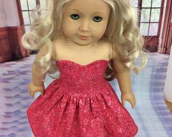 Poppy Red 18 inch doll dress  fits american girl size doll