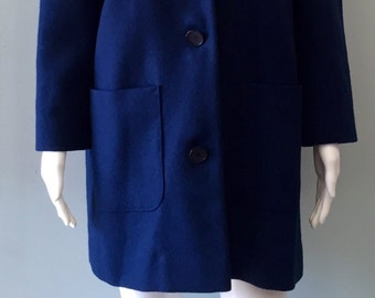 Chic 1960s Pendleton Navy Wool Coat