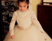 The REAL Mary Grace/Angrassia Dress: Ivory Alencon Lace with #5 Cream Lining - Girls Leotard Bodysuit For Flower Girl- STYLE #0908