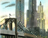 Brooklyn Bridge at Sunset, New York city, art print