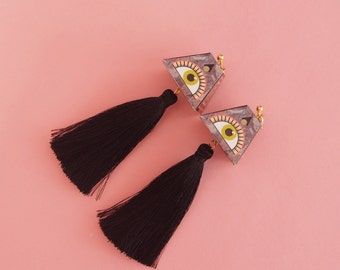 "Eye Earrings // Geometric Earrings // Tassel Earrings // Statement Earrings // MADE TO ORDER // The ""Expansions"""