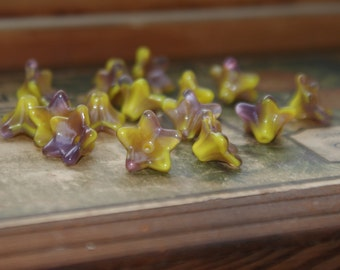 Glass Flower Beads Handmade Springtime