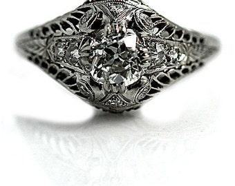 Vintage Engagement Ring .75ctw European Cut Diamond Engagement Ring Platinum Filigree Ring Vintage Diamond Wedding Ring Size 8!