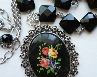 Fleurs de Noir // Vintage Black Cameo Necklace with Bouquet of Flowers, Square Onyx Beads, Sterling Silver, Bohemian Gypsy Retro 1950s
