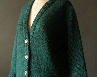 Vintage 60's Forest Green Button Up Knit Wool Cardigan Sweater with Gold Buttons by Kiyoyo