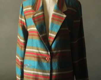 Vintage 80's/90's Olive Green, Red and Turquoise Stripes Blazer Jacket by Mix It, size L