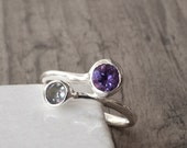 Amethyst Ring, Dual Gemstone Ring Amethyst Blue Topaz Sterling Silver, Dainty Twist Ring, Delicate Cocktail Ring, Size 7, Fine Jewellery
