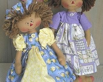 PDF E-Pattern Raggedy Ann Doll Twins Primitive Country Folk Art Cloth Pattern Sewing Craft
