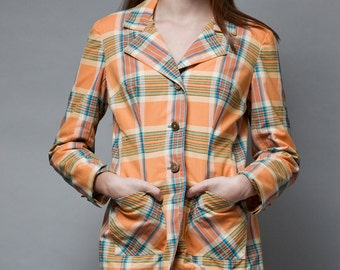 SALE plaid blazer jacket vintage 1970s preppy cotton orange gold buttons M L Medium Large
