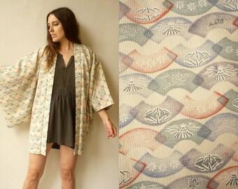 Vintage Abstract Fan Pattern Japanese Kimono Duster Jacket Haori