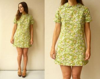 1970's Vintage Hippie Psychedelic Floral Print Mod Mini Dress Size Medium