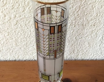 "Frank Lloyd Wright Famous ""Omaggio Tree of Life"" Stained Glass Vase"