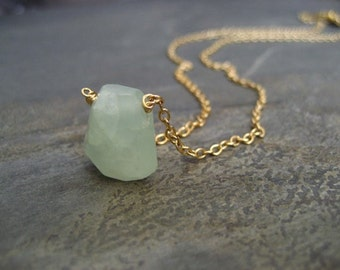 Mint prehnite nugget necklace - goldfilled