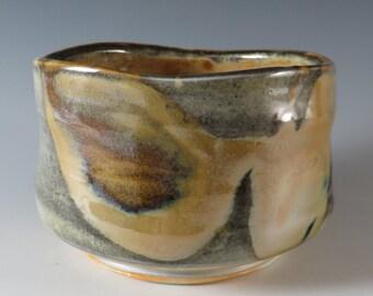 Porcelain Tea Bowl with Multiple Shino Glazes (323)