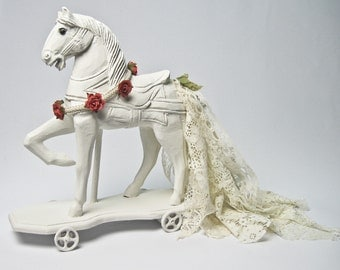 Carved Wood Horse Statue on Iron Wheels Decorated with Silk Roses and Lace Tail Tabletop Decor Centerpiece