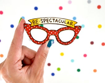hand painted laser wood cut brooch / be spectacular / retro polka dot cat eye glasses pin flair