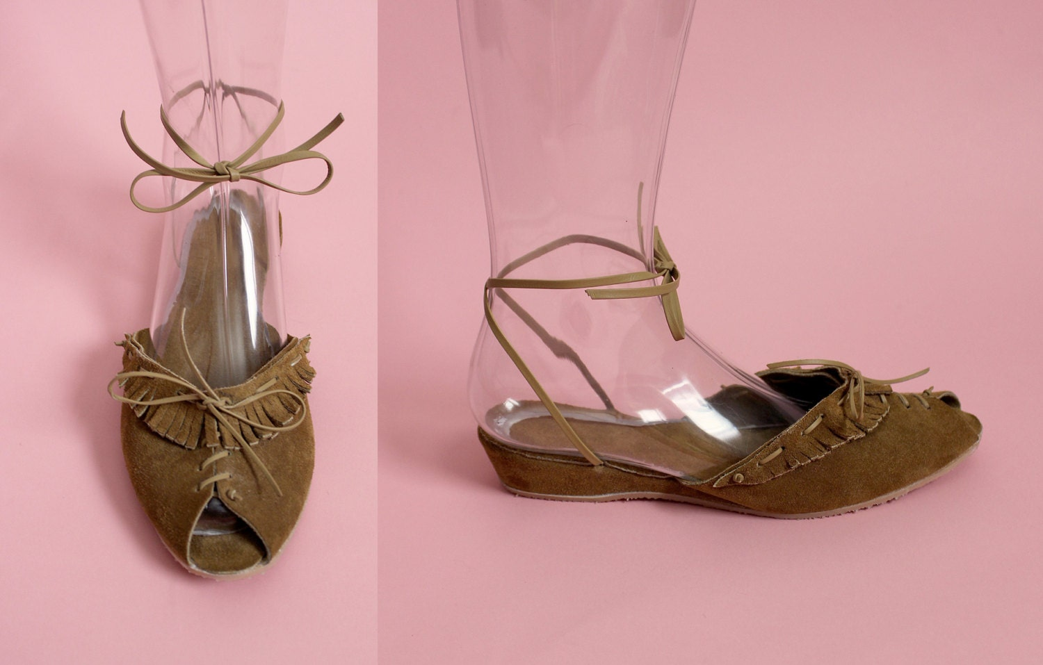 THE RODEO QUEEN - 1940's Inspired Tan Rough-Out Leather Adjustable Ankle Strap Wedge Sandal w/ Fringe Detail & Lace-Up Front - Sizes 5 to 12