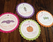 Halloween Collection: Set of 8 Circle Favor Tags. Thank You Tags. Birthday Party Gift Tag. Spider Pumpkin Bat Witch Kids Fun