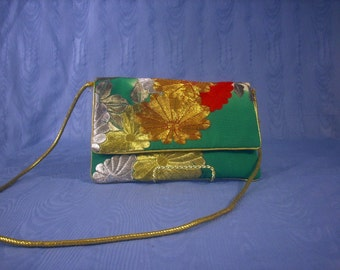 Sheila Davlin Evening Bag Gold Green Silver Red Embroidered Flowers 1970's Clutch