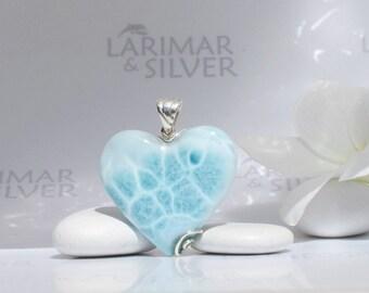 Larimarandsilver pendant, Origin of Love - crystal blue Larimar heart, water blue heart, heart pendant, turtleback, handmade Larimar pendant