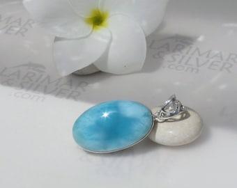 Larimar pendant, Caribbean Swim - sea blue Larimar oval, Caribbean blue, aquamarine oval, Atlantis stone, turquoise oval, handmade pendant