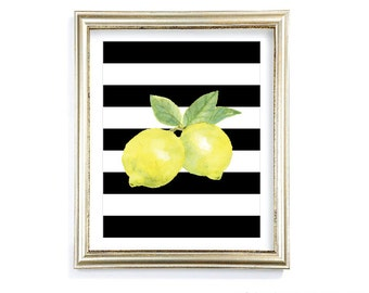 Lemons Art Print - Watercolor Lemon Print - Lemon Art - Citrus Fruit Kitchen Wall Art - Yellow Black and White Decor - Aldari Art