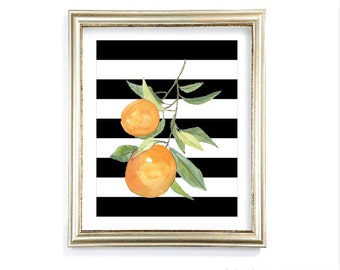 Oranges Art Print - Watercolor Orange Print - Lemon Art - Citrus Fruit Kitchen Wall Art - Orange Black and White Decor - Aldari Art