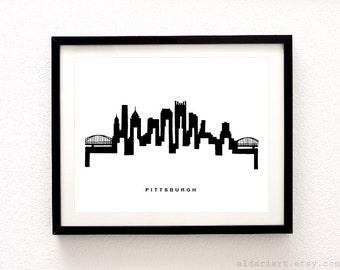 Pittsburgh Cityscape Print - Pittsburgh Wall Art - Pittsburgh Skyline Print - Modern Black and White Wall Art - City Print - Aldari Art
