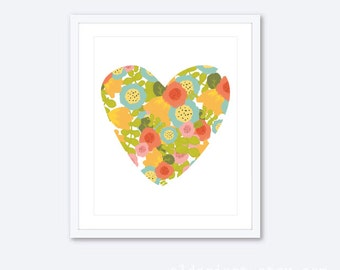 Floral Heart Print - Modern Flowers Heart Art Print - Nursery Heart Wall Art - Coral Yellow Blue Green Heart Print - Floral Art