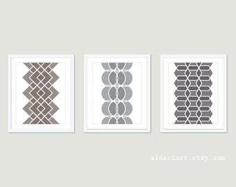 Geometric Prints - Mid Century Modern Wall Art - Set of 3 - Modern Home Decor - Geometric Art - Brown Grey Neutral Colors - Aldari Art
