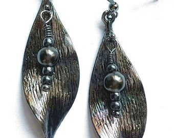 Bold Black Leaf Earrings