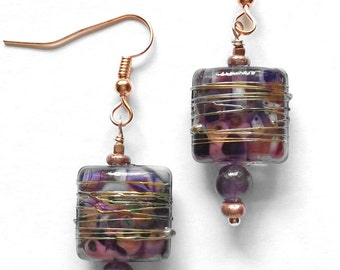 Purple and Gold Glass Pillow Earrings