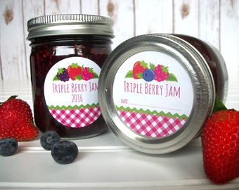 Gingham Triple Berry Jam canning labels, Strawberry Blueberry Blackberry Raspberry mason jar labels, berry jam jar labels fruit preservation