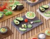 Making Guacamole Prep Board - in Grey 1/12 scale dollhouse miniature